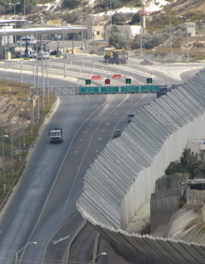 Wall and car terminal at the outskirts of Bethlehem